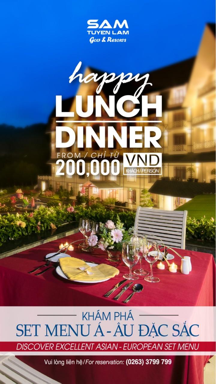 ƯU ĐÃI HAPPY LUNCH/DINNER HẾT SẢY – CHỈ VỚI 200.000VNĐ/1 PAX